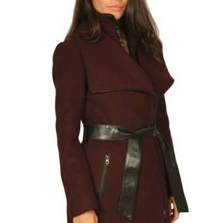 Mackage Nori Belted Wool coat with Leather Trim, Bordeaux XL