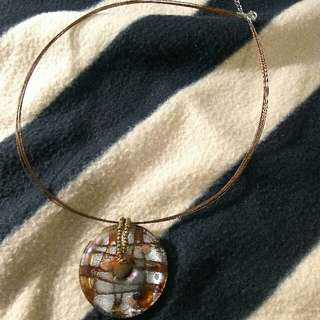 Glass art pendant wired necklace