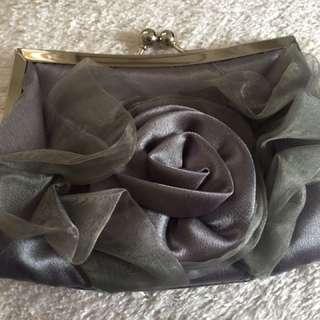 Grey satin  evening small bag