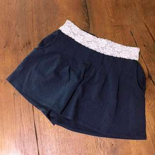 Navy Blue Lace-belt Shorts