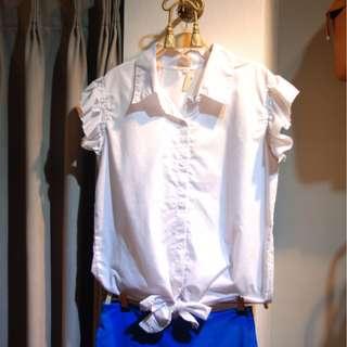 椿花二手衣-下綁結荷葉秀白襯衫-可OL可休閒-L