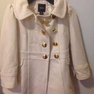 Girls size 4-6 white black wool coat