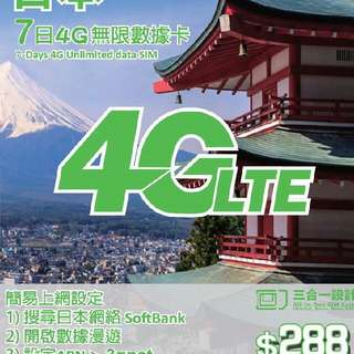 Japan 7 days unlimited data sim Softbank 日本7日無限上網流動數據 whatsapp 5932-5599