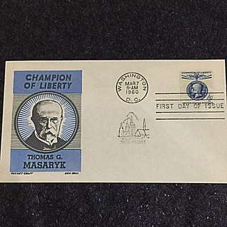 US 1960 4c Thomas Masaryk FDC Stamp