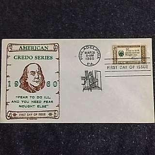 US 1960 Benjamin Franklin Credo FDC Stamp