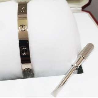 Cartier 卡地亞 純白金 LOVE 手鐲 Bracelet 經典系列