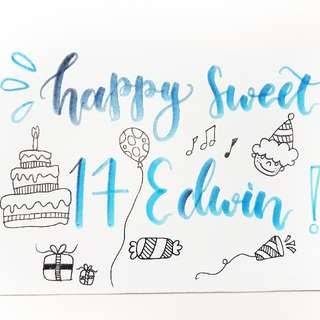 Watercolor Card Hand lettering card Birthday card handmade