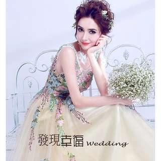 (◕‿◕)手工定制仙仙淡黃色新娘婚紗禮服敬酒服