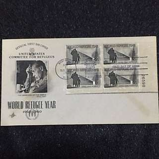 US 1960 World Refugee Year Plate Blk4 FDC Stamp