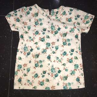 Textured Floral Semi-Crop Top Shirt