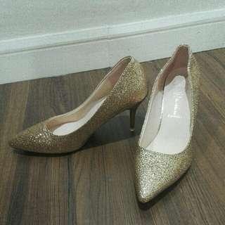 #bajet20 (Free Poslaju) Brand New Pointed Glitter Gold Stiletto Heels
