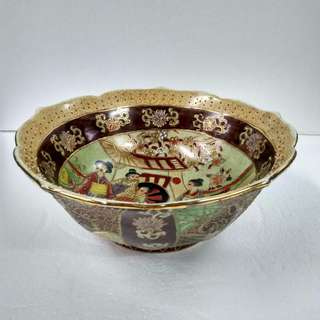 Japanese-style Hand-painted Ornamental Porcelain Lotus Bowl In Yellow Crackled Glaze