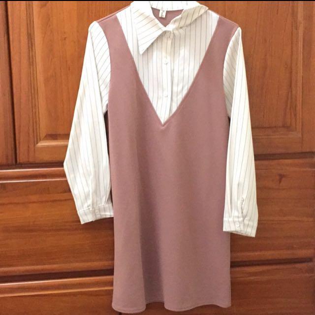 (!降!)藕粉色一件式洋裝套裝