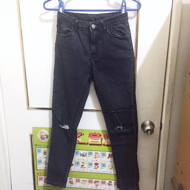 黑色刷色破壞顯瘦牛仔褲