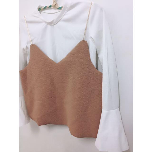新 荷葉袖2件式上衣