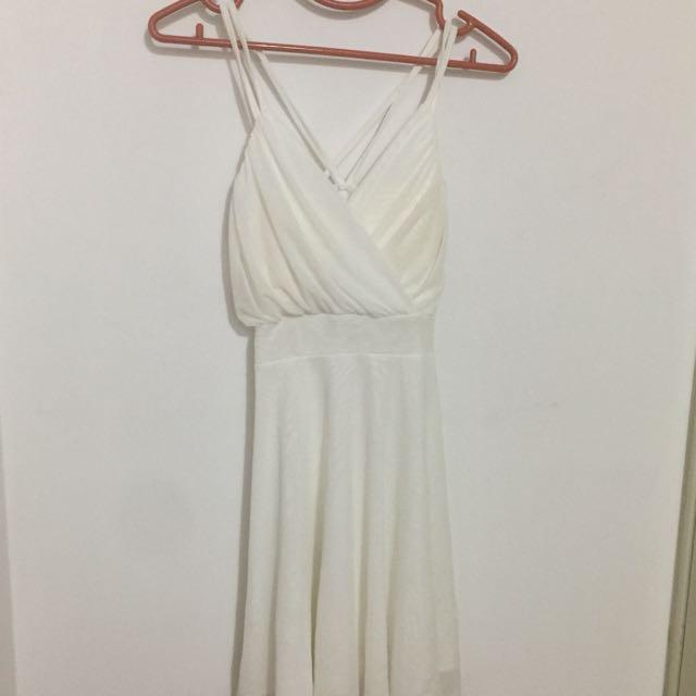 全新 女神風細肩白洋裝
