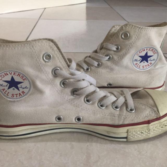 正品 converse 白基本款高筒帆布鞋 25號