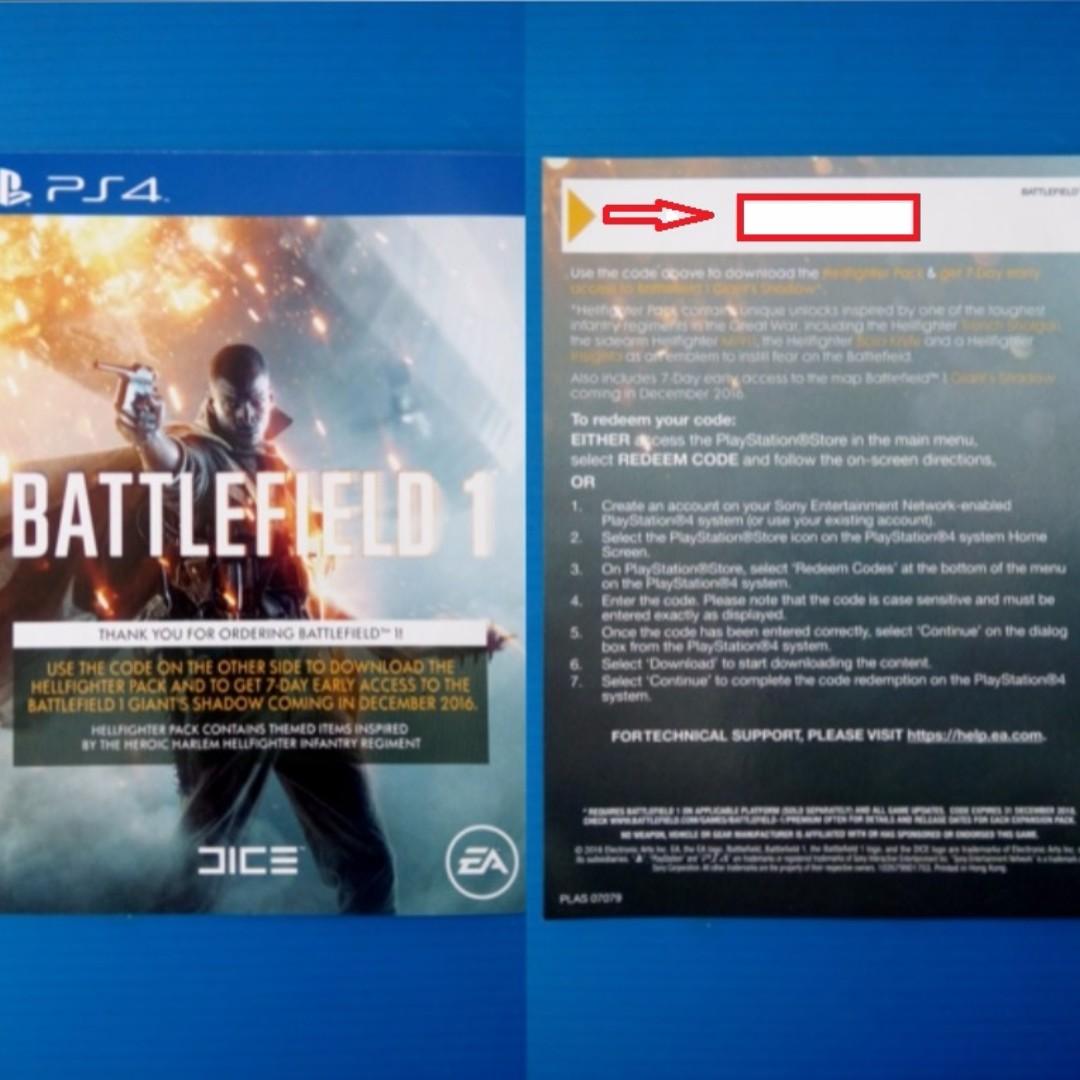 🎮 PS4 BattleField 1 REDEEM DLC CODE for HellFighter Pack