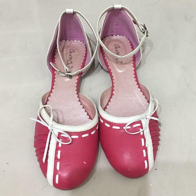 amai粉紅圓頭鞋 size:38
