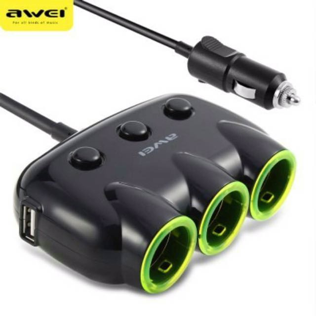 AWEI 3 Way Car Charger (Bnew)