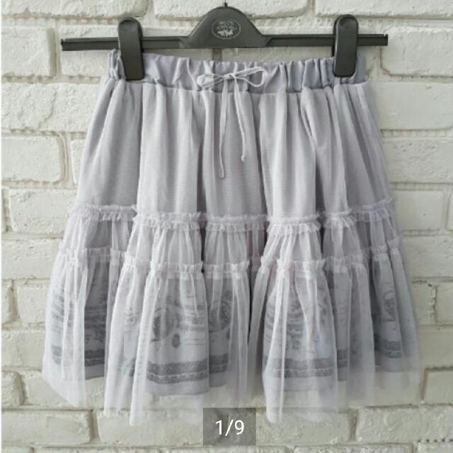 日本專櫃axes femme超仙款淺灰紫樂器圖案紗裙