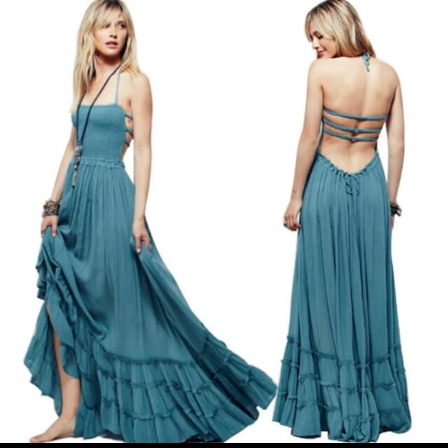 0db4ba91ff Beach dress sexy dresses bohemian people Holiday summer long backless  cotton women party Harness dress dresses, Women's Fashion, Clothes, Dresses  & Skirts ...
