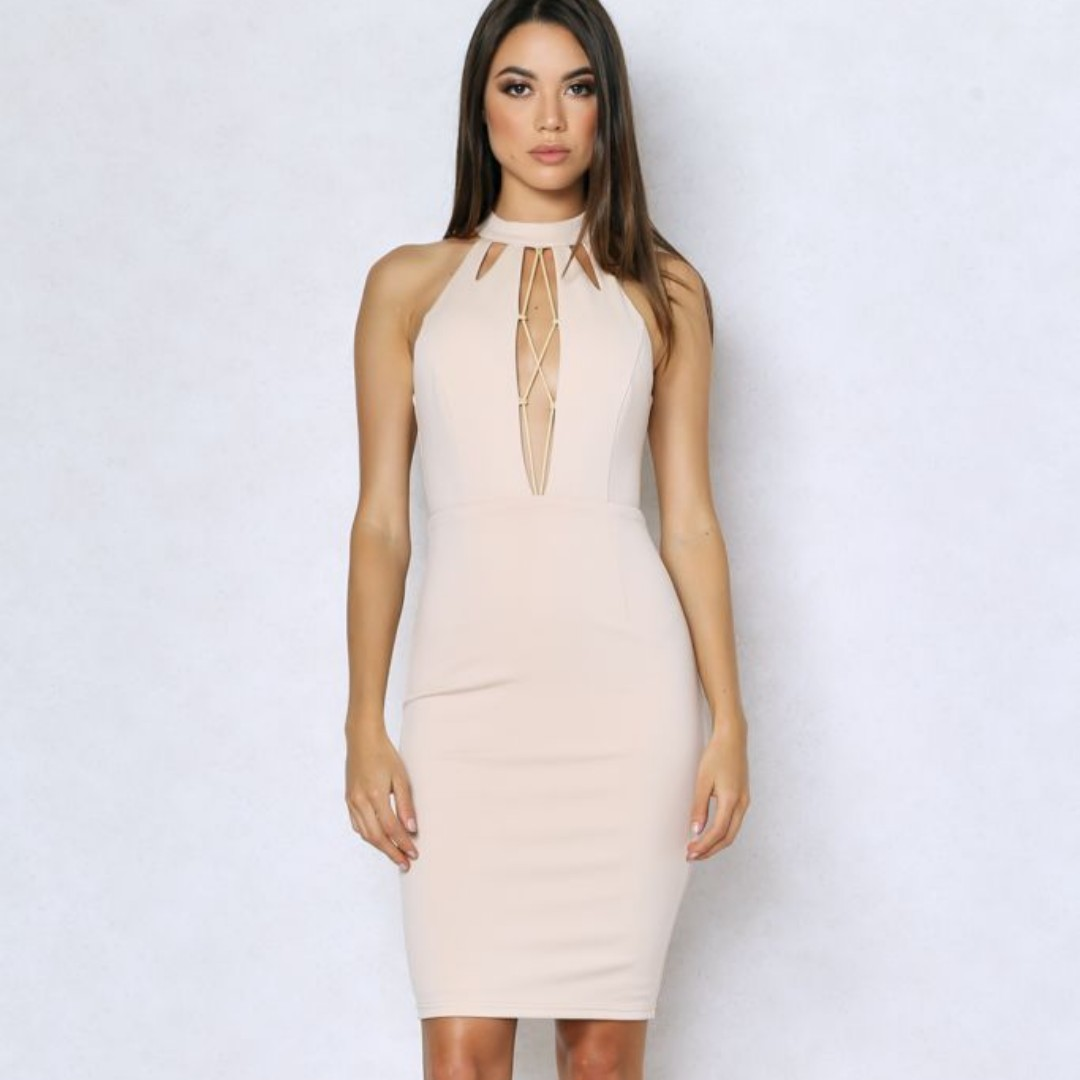 Beige Plunge Lace Up Bodycon Dress