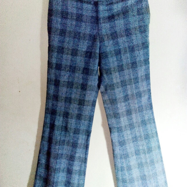 Blue Checkered Flared Long Pants