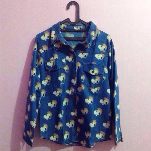 Blue Denim Snoopy Shirt / Kemeja Jeans Snoopy