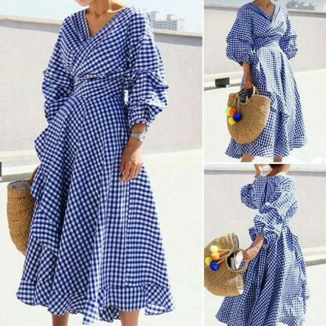 Blue Wrap Around Checkered Dress