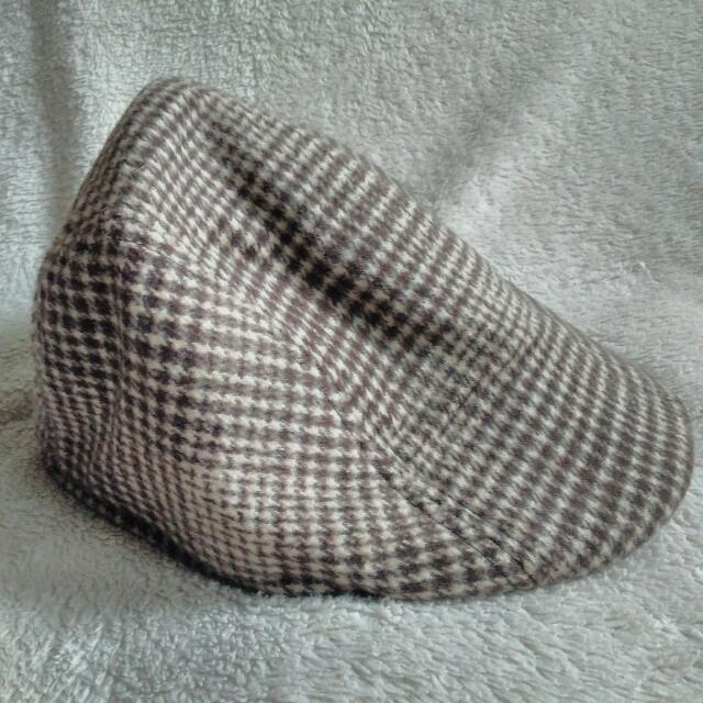 Brown Houndstooth Print Hat