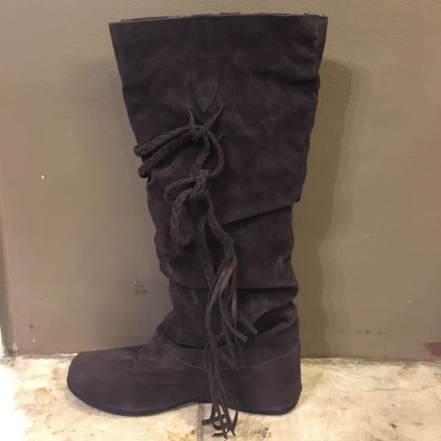 Brown suede high cut boots