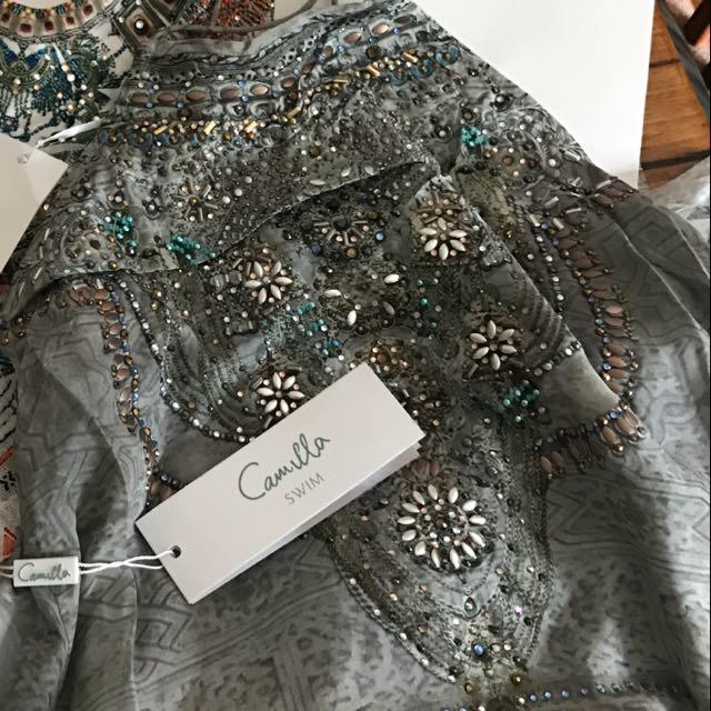 Camilla 'Moorish Idol' Sheer Overlay Top Size 1 (8) RRP $449