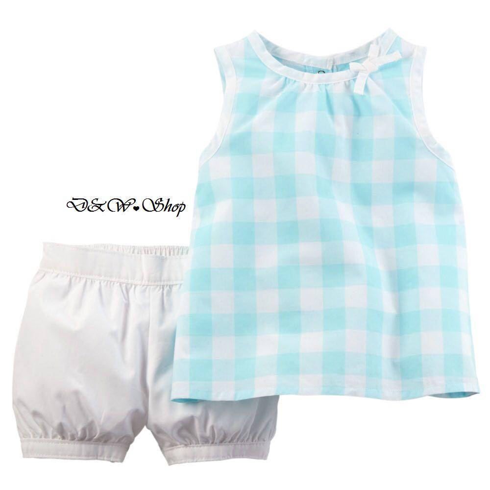 Carter's 無袖藍格子+白短褲 二件組