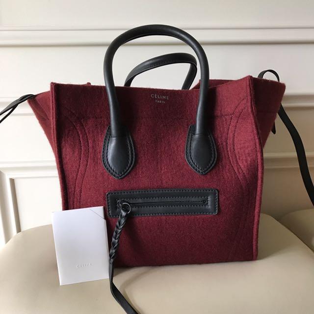 f23bd954e Celine Luggage Phantom In Burgundy Felt, Luxury, Bags & Wallets on ...
