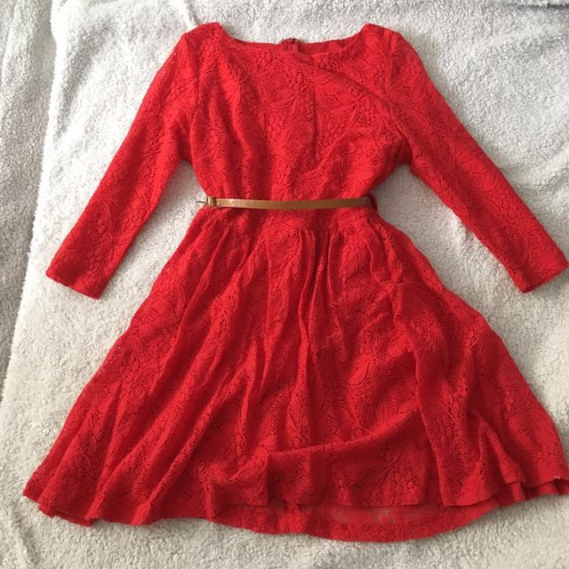 club monaco red lace dress with brown belt