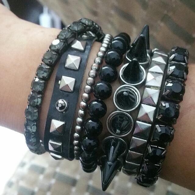 Emo Grunge Metal Alternative Black Bracelet Bundle