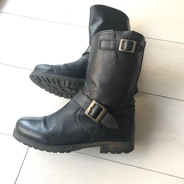 European black leather boots size 8