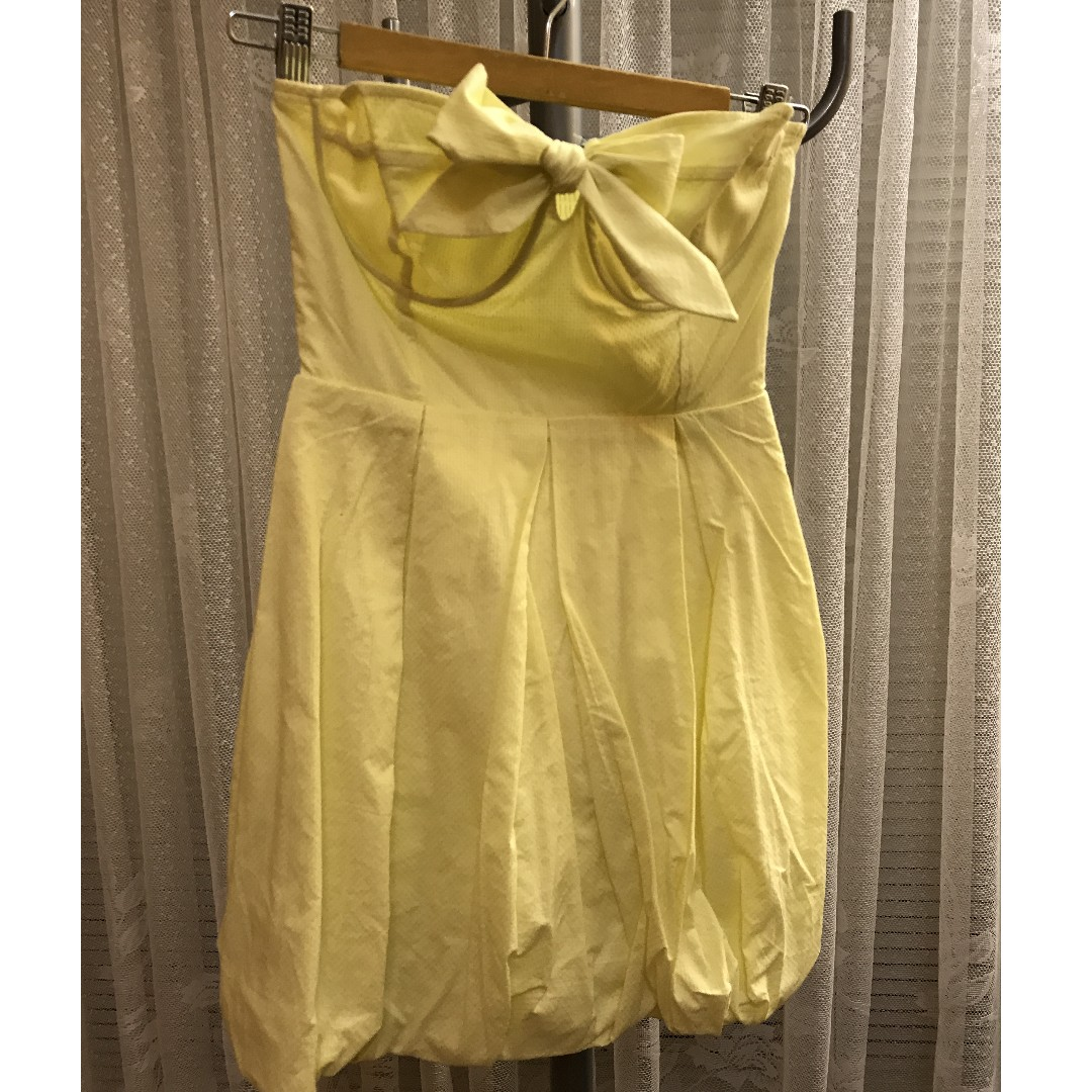 Forever New Yellow strapless bubble dress size 6