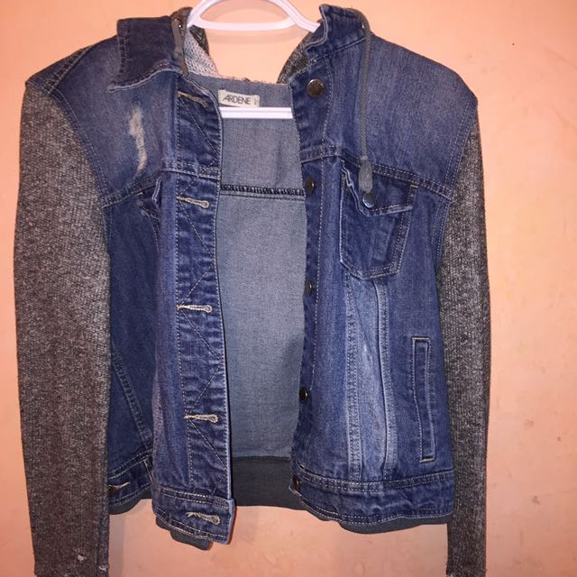Grey sweatered jean jacket