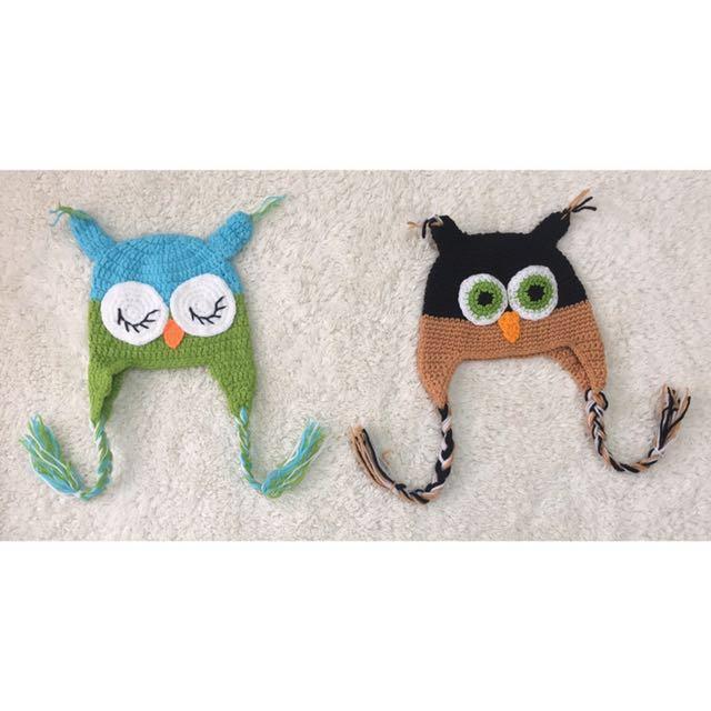 Handmade owl crochet hat baby boy/ 280 per piece