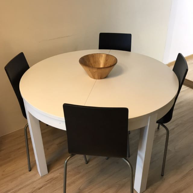 Ikea Bjursta Extendable Table White 115 166 Cm Furniture Tables Chairs On Carousell
