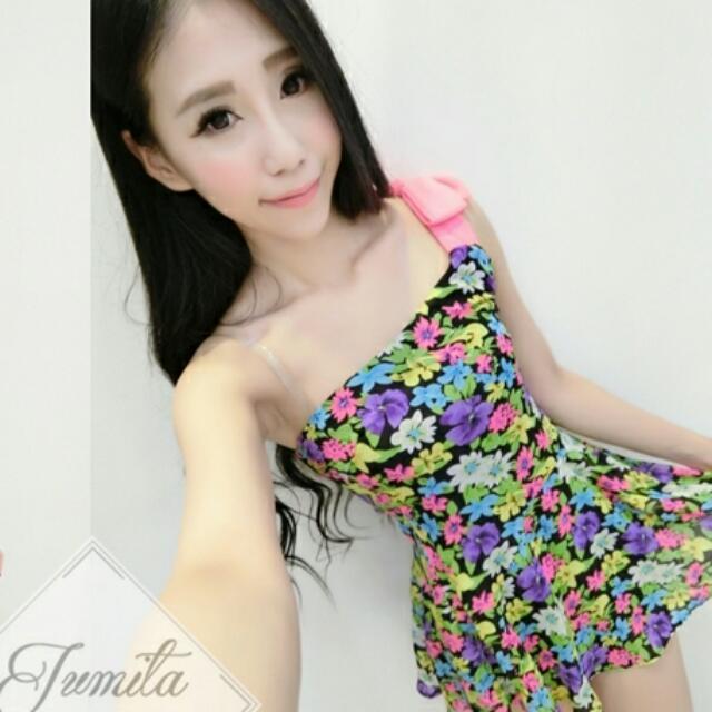 (全新)Jumita單肩印花雪紡洋裝
