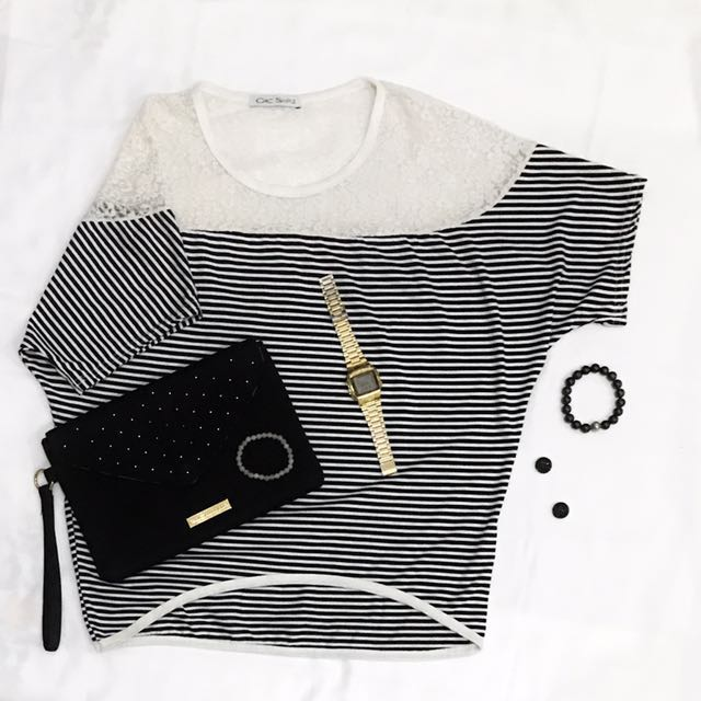 Lacey Stripe Blouse by Chic Simple