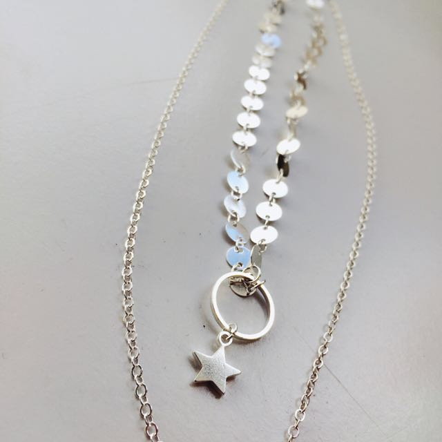 Layered Choker Star Necklace (Silver)