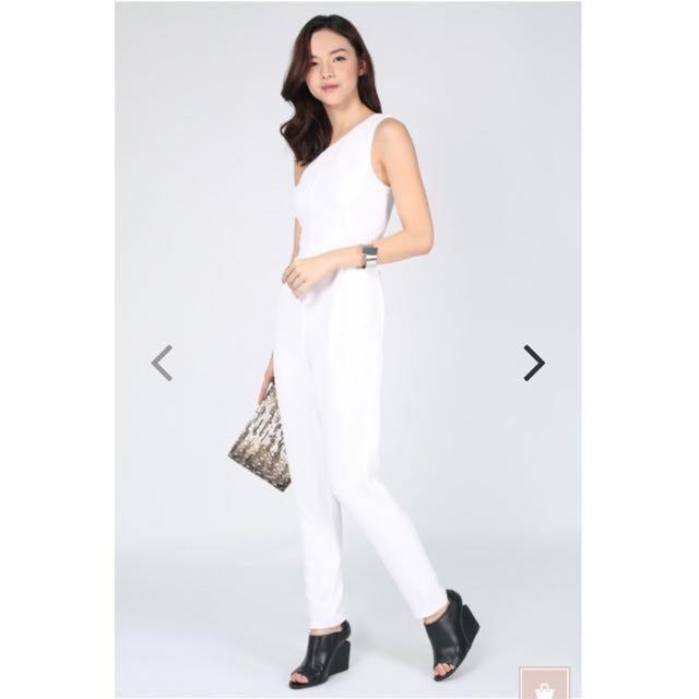 92a7f1fe49 Love Bonito Joyelle Textured toga Jumpsuit (white)