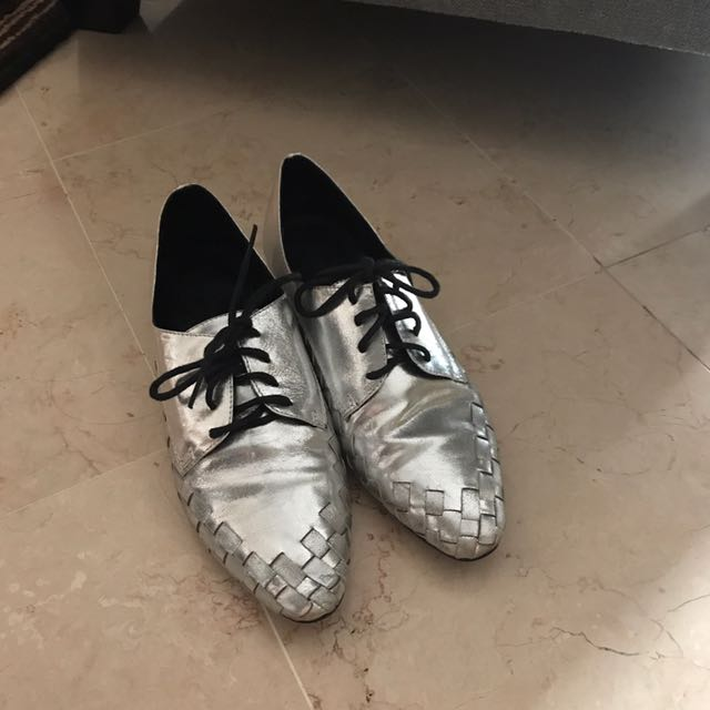 Methapor Silver Oxford Shoes