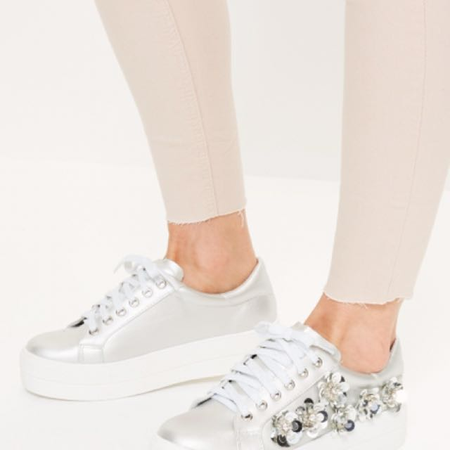 Missguided silver embellished flatform trainers