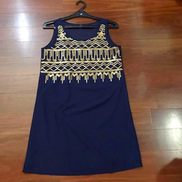 Navy Blue Gold Boho Pattern Dress