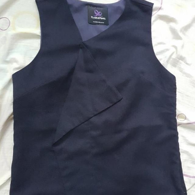 New Price: Plains & Prints Navy Blue Blouse